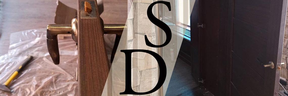 Фотография установки межкомнатной двери в шпоне венге